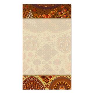 Retalhos do vintage florais - em cores do outono cartão de visita