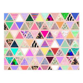 Retalhos florais abstratos do Pastel dos triângulo Cartão Postal