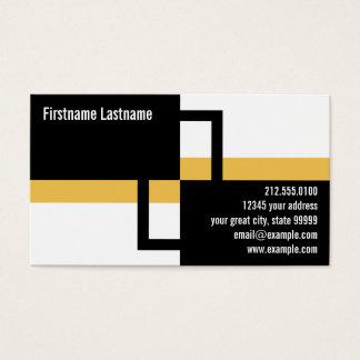 Retângulos modernos e listra amarela cartão de visitas