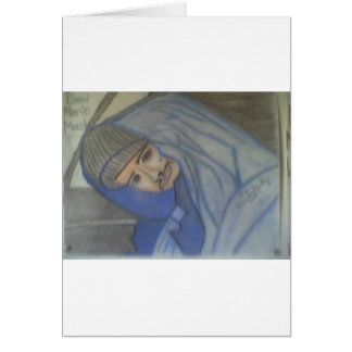 Retrato #3 no final do giz cartão comemorativo