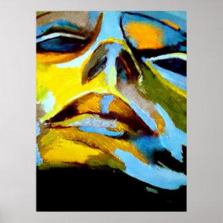 Retrato abstrato de uma pintura da mulher - a arte poster