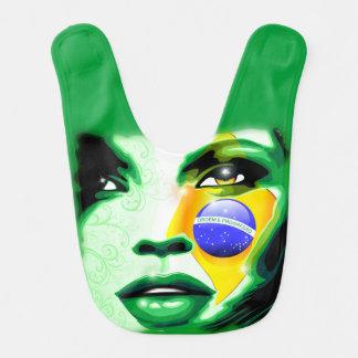 Retrato Baby_Bib da menina da bandeira de Brasil Babadores Infantis