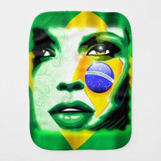Retrato Burp_Cloth da menina da bandeira de Brasil Paninhos Para Bebês