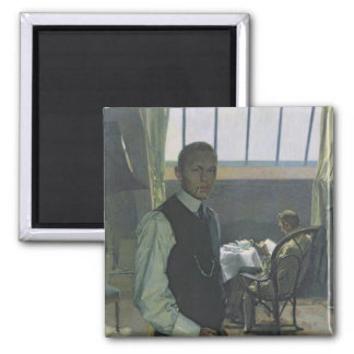 Retrato de auto no estúdio 1904 imã de geladeira