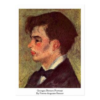 Retrato de Georges Riviere por Pierre-Auguste Reno Cartão Postal
