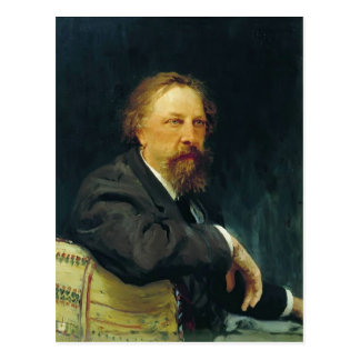 Retrato de Ilya Repin- do escritor Aleksey Tolstoy Cartão Postal