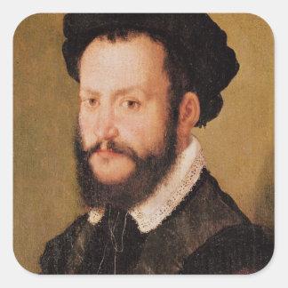 Retrato de um homem com cabelo de Brown, c.1560 Adesivo Quadrado
