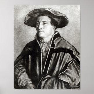 Retrato de um homem com um chapéu vermelho c 1530 impressão