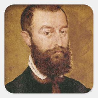Retrato de um homem com uma barba adesivo quadrado