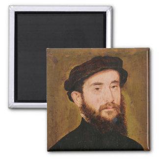Retrato de um homem desconhecido 2 ímã quadrado