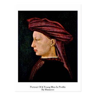 Retrato de um homem novo no perfil por Masaccio Cartão Postal