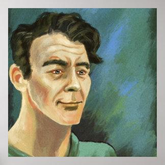 Retrato de um poster do homem novo