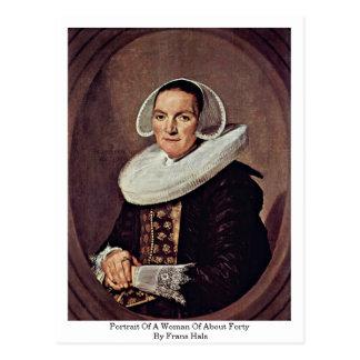 Retrato de uma mulher de aproximadamente quarenta  cartão postal