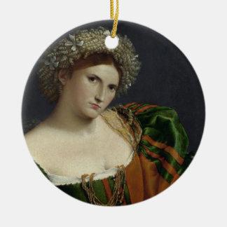 Retrato de uma mulher inspirada pelo ornamento de