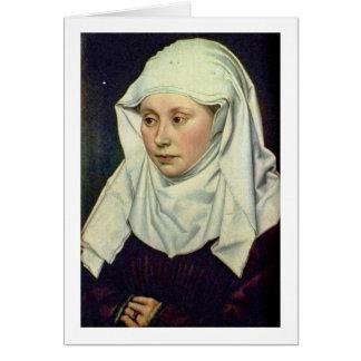 Retrato de uma mulher por Robert Campin Cartão Comemorativo