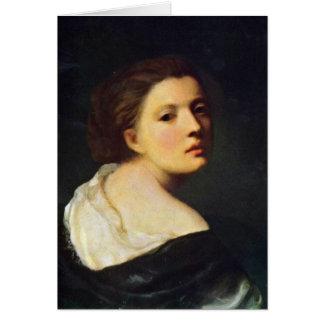Retrato de uma rapariga por Jean-Baptiste Greuze Cartão Comemorativo