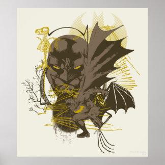Retrato do Grunge do vintage de Batman Poster