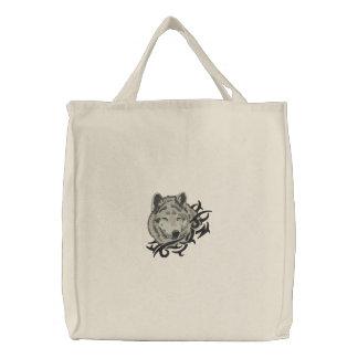 Retrato do lobo cinzento bolsas