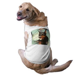 Retrato do Pinscher do Doberman Camisa Sem Mangas Para Cachorro
