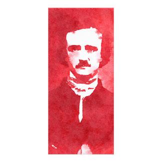 Retrato do pop art de Edgar Allan Poe no vermelho 10.16 X 22.86cm Panfleto