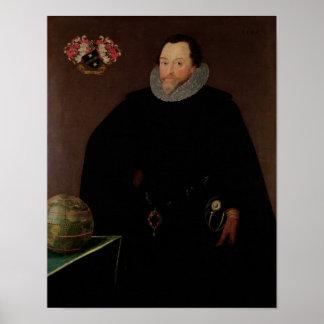 Retrato do senhor Francis Drake 1591 Poster
