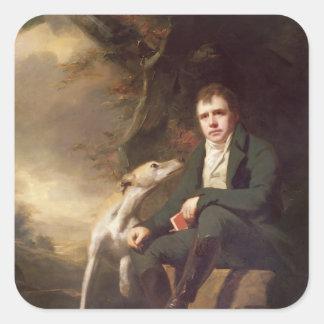 Retrato do senhor Walter Scott e seus cães Adesivo Em Forma Quadrada