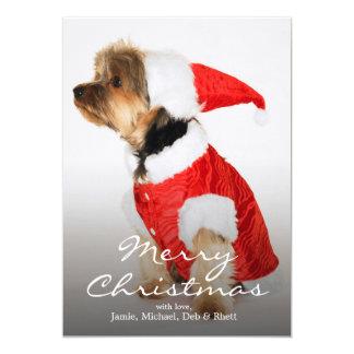 Retrato do yorkshire terrier que veste o chapéu do convite 12.7 x 17.78cm