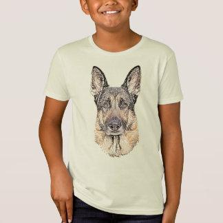 Retrato esboçado de um cão de german shepherd t-shirt