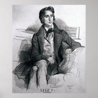 Retrato Franz Liszt do agosto de 1832 Poster