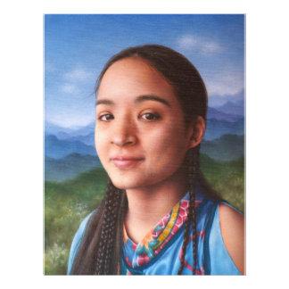 Retrato no óleo da beleza nativa panfletos personalizados