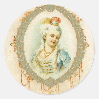 Retrato novo de Marie Antoinette Adesivo Redondo