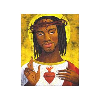 Retrato preto de Jesus Impressão De Canvas Esticadas