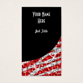Retrato preto vermelho da curva da zebra do Glitz Cartão De Visitas