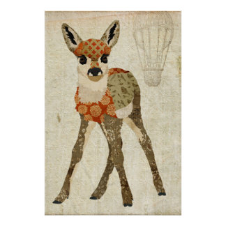 Retro Amber Floral Fawn Art Poster
