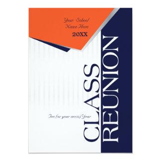 Reunião de classe alaranjada e azul customizável convite 12.7 x 17.78cm