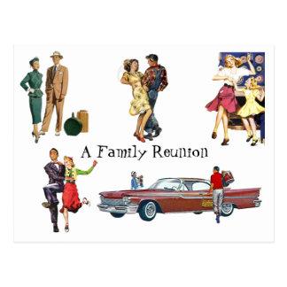 Reunião de família festiva retro do divertimento d cartão postal