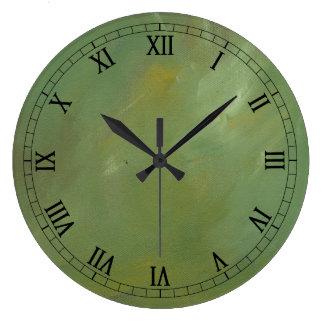 Revestimento verde escovado do falso relógio para parede
