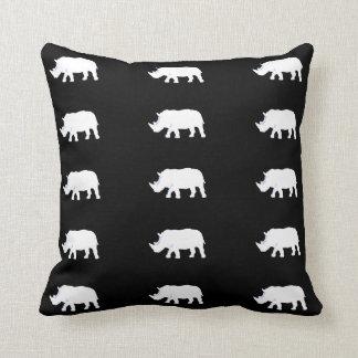 rhinos brancos no preto travesseiros de decoração