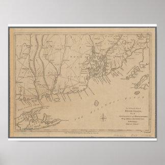 Rhode - mapa histórico da ilha 1780 póster