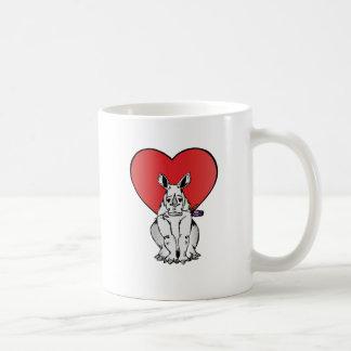 Rinoceronte com coração do dia dos namorados caneca de café
