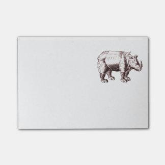 Rinoceronte - desenho do estilo do renascimento de bloquinho de notas
