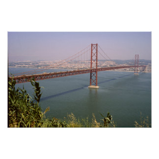 Rio Tejo de Lisboa Portugal 25 de Abril Ponte Pôster