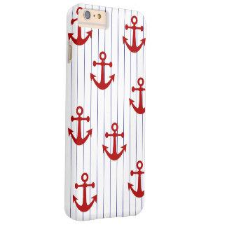 Riscas do marinho com âncoras vermelhas capas iPhone 6 plus barely there
