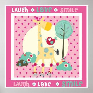 riso, amor, decoração da parede do sorriso poster