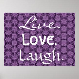 Riso vivo do amor com teste padrão de estrelas rox poster