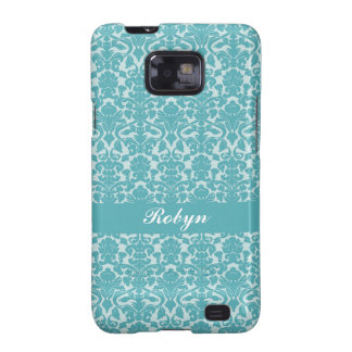 Robin blue damask pattern custom name personal galaxy s2 cases
