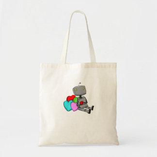 Robô bonito e sacola do coração sacola tote budget