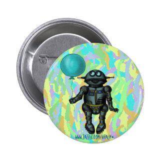 Robô bonito engraçado com design do botão do balão pins