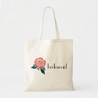 Rocha floral do rosa moderno da sacola da dama de bolsa tote