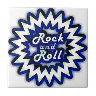 Rock and roll de néon azulejo quadrado pequeno